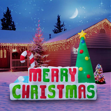 Inflatable Merry Christmas Sign Christmas Decoration with Built in Fan and LED Lights