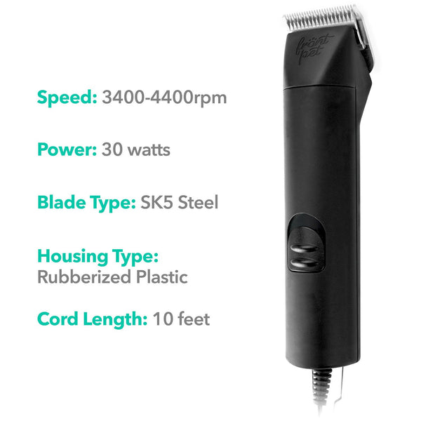 Dog clipper front view with technical specifications