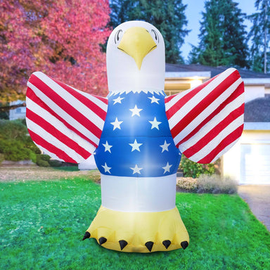 Inflatable 4th of July Bald Eagle Decoration with Built-In Fan and LED Lights