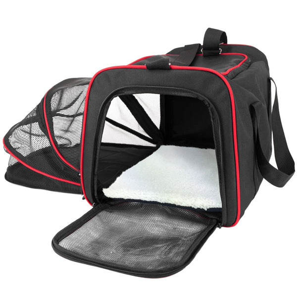Airline travel carrier with extended side area