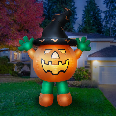 Inflatable Halloween Pumpkin Man Decoration with Built-in Fan and LED Lights