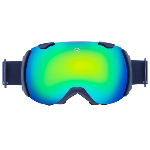 snowboard goggles with black frames and blue lenses