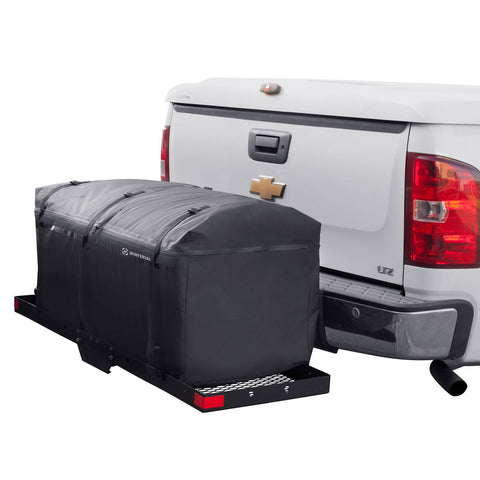 Rear hitch cargo bag storage bag on a chevy truck