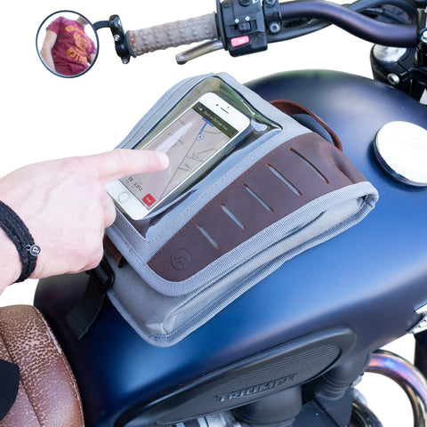 Mini Fuel Tank Luggage Bag Facing Forward On Motorcycle With Phone Inside