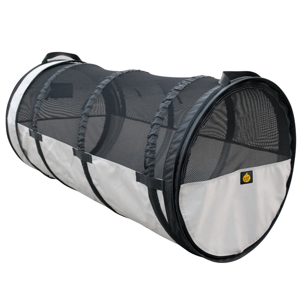 Angled view of pet tube kennel