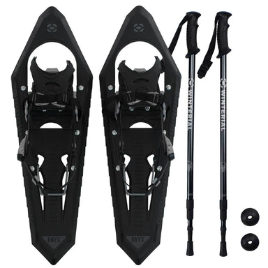 Winterial Onyx 25-Inch Mountain Terrain Snowshoes with Quick Fit Bindings, Adjustable Poles, And Carry Bag, Black
