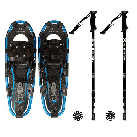 Winterial Shasta Snowshoes 25-Inch Lightweight Aluminum All Terrain Blue and Black Snow Shoe. Includes Carry Bag, Adjustable Poles