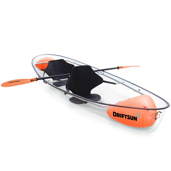 Driftsun Crystal Clear Transparent Kayak with Orange Paddles and See Though Hull