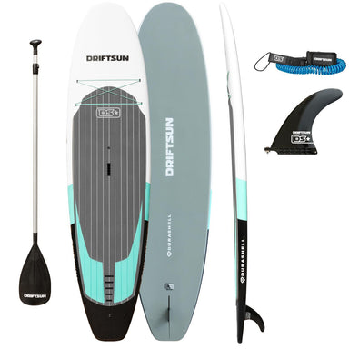 Driftsun Unbreakable SUP, 10 ft. Leash, Nylon Center Fin, and Adjustable Paddle package