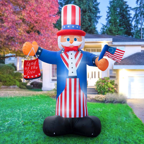 Inflatable 4th Of July Uncle Sam Decoration with Built-In Fan and LED Lights