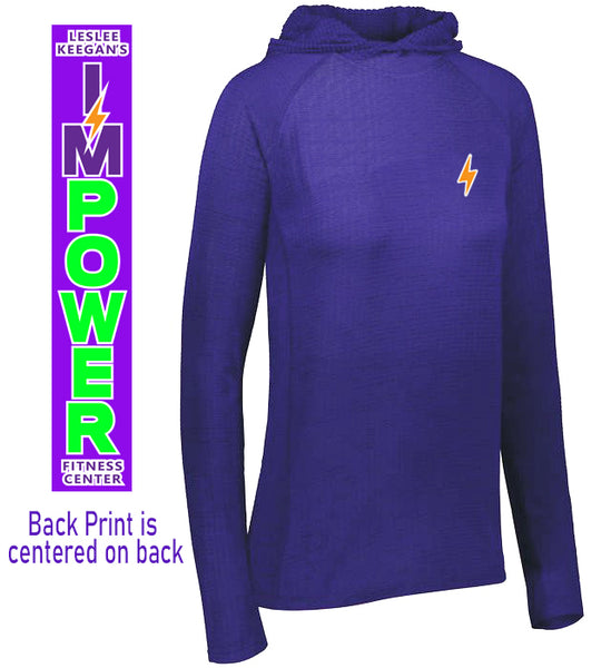 Ladies Lightweight Waffle Hooded Pullover I'MPower
