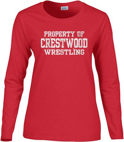 GLITTER Ladies or Uni-Sex long sleeve t-shirt Logo A- CHS/MHS