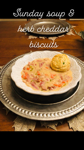 Soup and herb cheddar biscuits