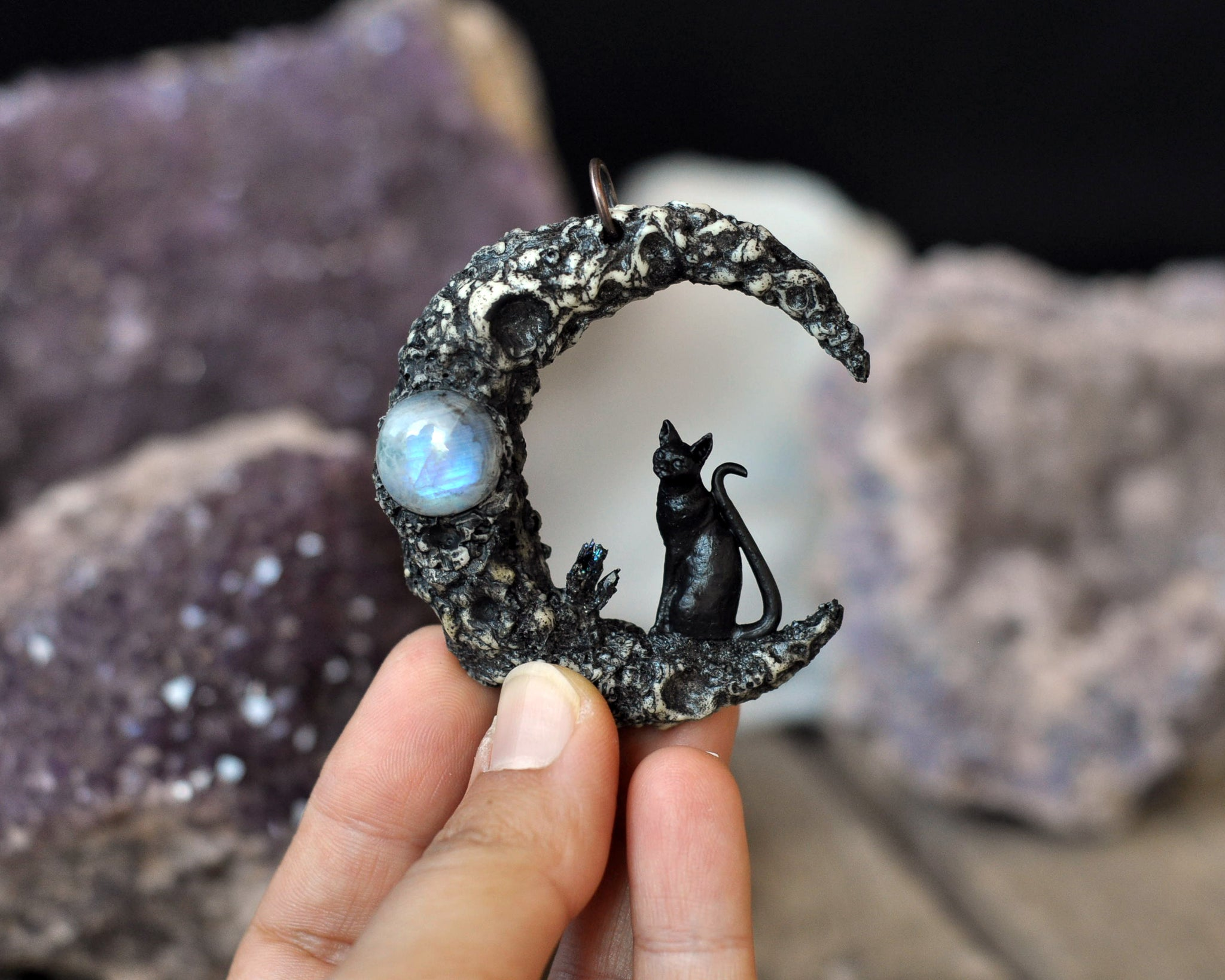Crater Moon Pendant, Black Cat Pendant, Rainbow Moonstone Pendant, Crescent Sailor Moon Necklace