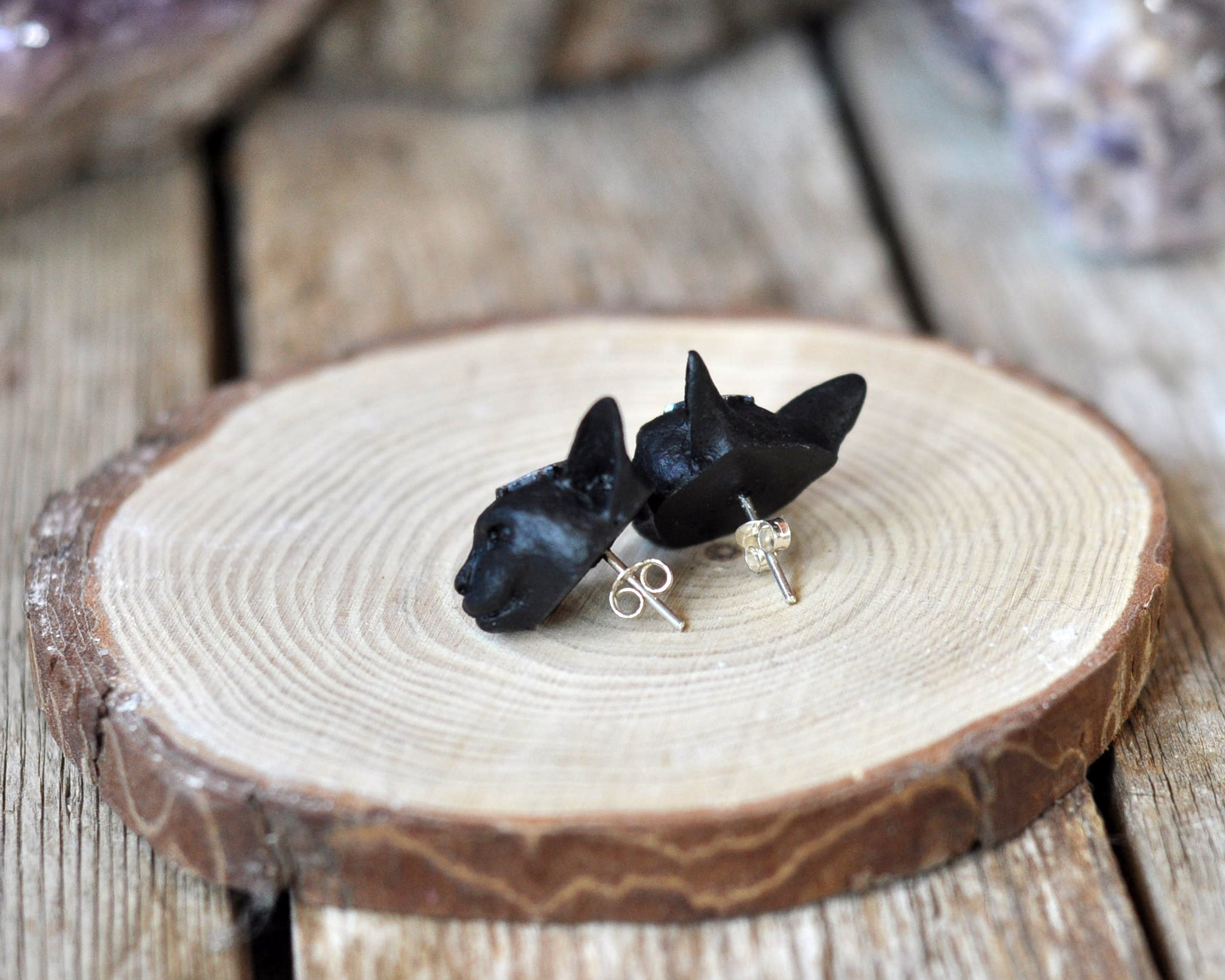 Mini Black Cat Heads Earrings, Sterling Silver