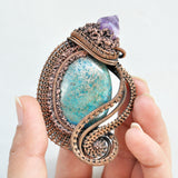 Wire Wrapped Pendant, Blue-Green Imperial Jasper, Amethyst