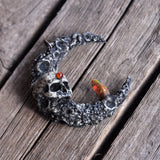 Skull Moon Pendant, Crescent Moon Necklace, Raw Opal Pendant, Garnet Hessonite Gem Necklace
