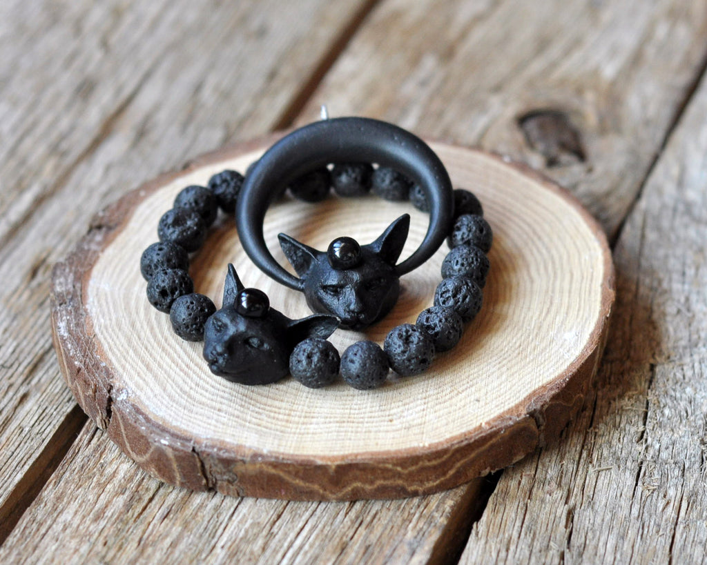 Black Cat Pendant and Cat Bracelet Jewelry Set, Onyx Round Gemstone Jewelry Set, Black Lava Beaded Bracelet, Gothic Style Cat Jewelry