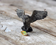 Owl Pendant, Owl Necklace, Raw Fire Opal Pendant, Opal Necklace, Resin Jewelry, Polymer Clay Pendant