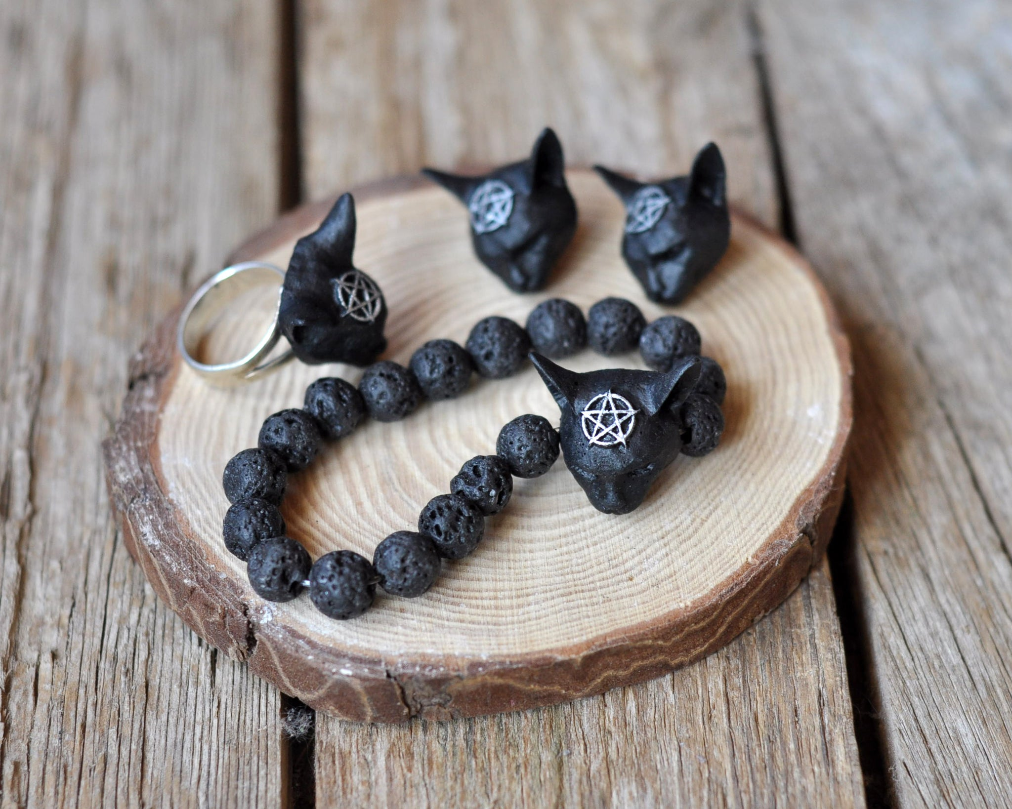 Pentagram Cat Ring, Pentagram Cat Earrings, Cat Pendant, 925 Sterling silver jewelry Sets, Resin jewelry Sets, Gothic Style Jewelry Sets