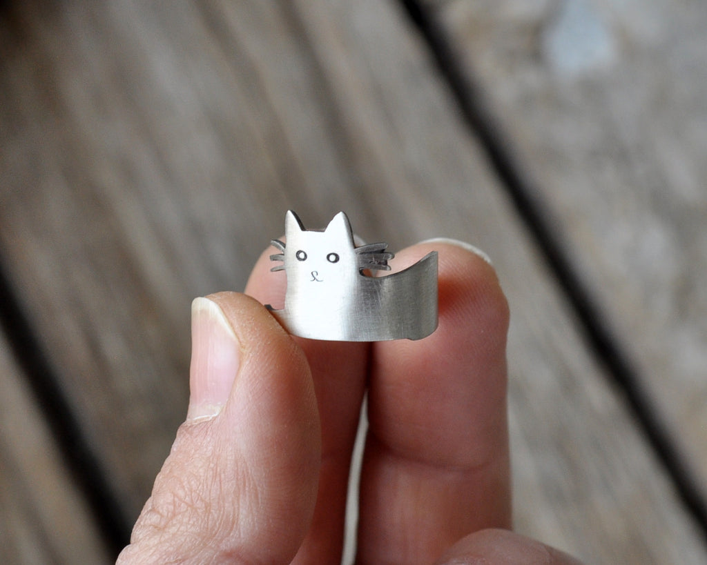 925 Sterling Silver Cat Ring Adjustable, Woman Accesories, Cat Jewelry in Sterling Silver
