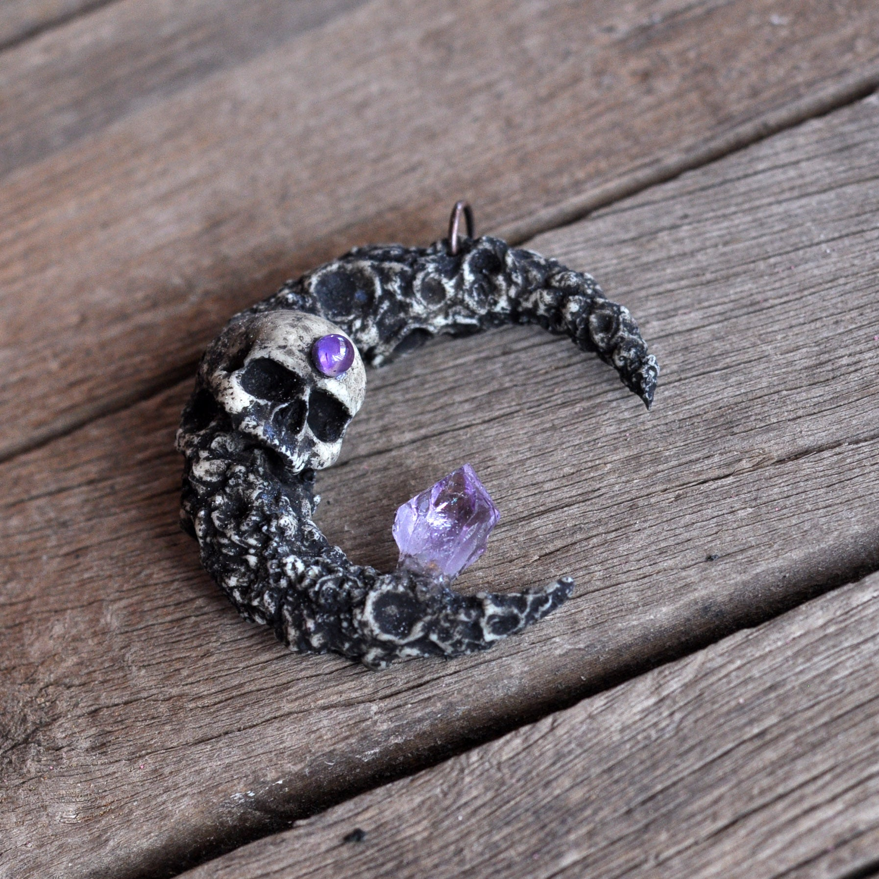 Skull Moon Pendant, Crescent Moon Necklace, Amethyst Crystal Pendant