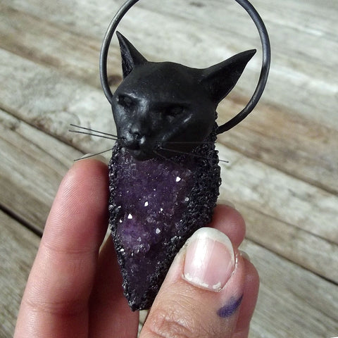 Hand Sculpted Black Cat Pendant, Amethyst Druzy Crystal