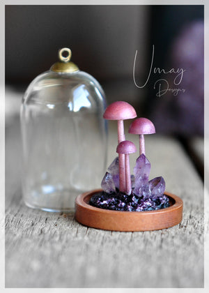 Cute Mushrooms Family Pendant, Mini Terrarium Glass Lantern Pendant, Wooden Necklace, Amethyst Crystals Pendant, Witchcraft Jewelry