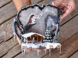 Decorative Agate for Wall, Snowy Mountain with a House, Decorative Snowy House, Snowy Trees for Decoration, Diorama Scene Art Piece for wall