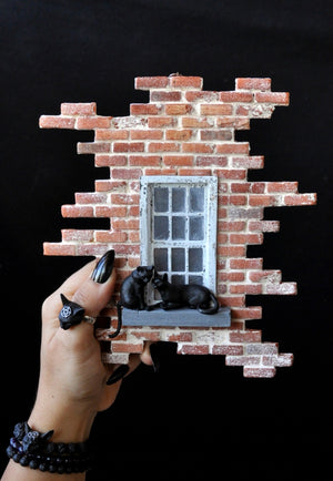 Brick Wall and Black Love Cats Decorative Diorama Art Object