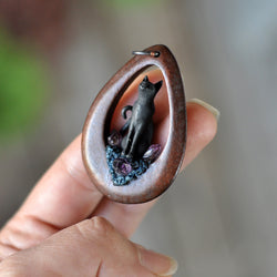 Wooden Pendant, Black Cat Pendant, Amethyst Crystals, Polymer Clay Jewelry