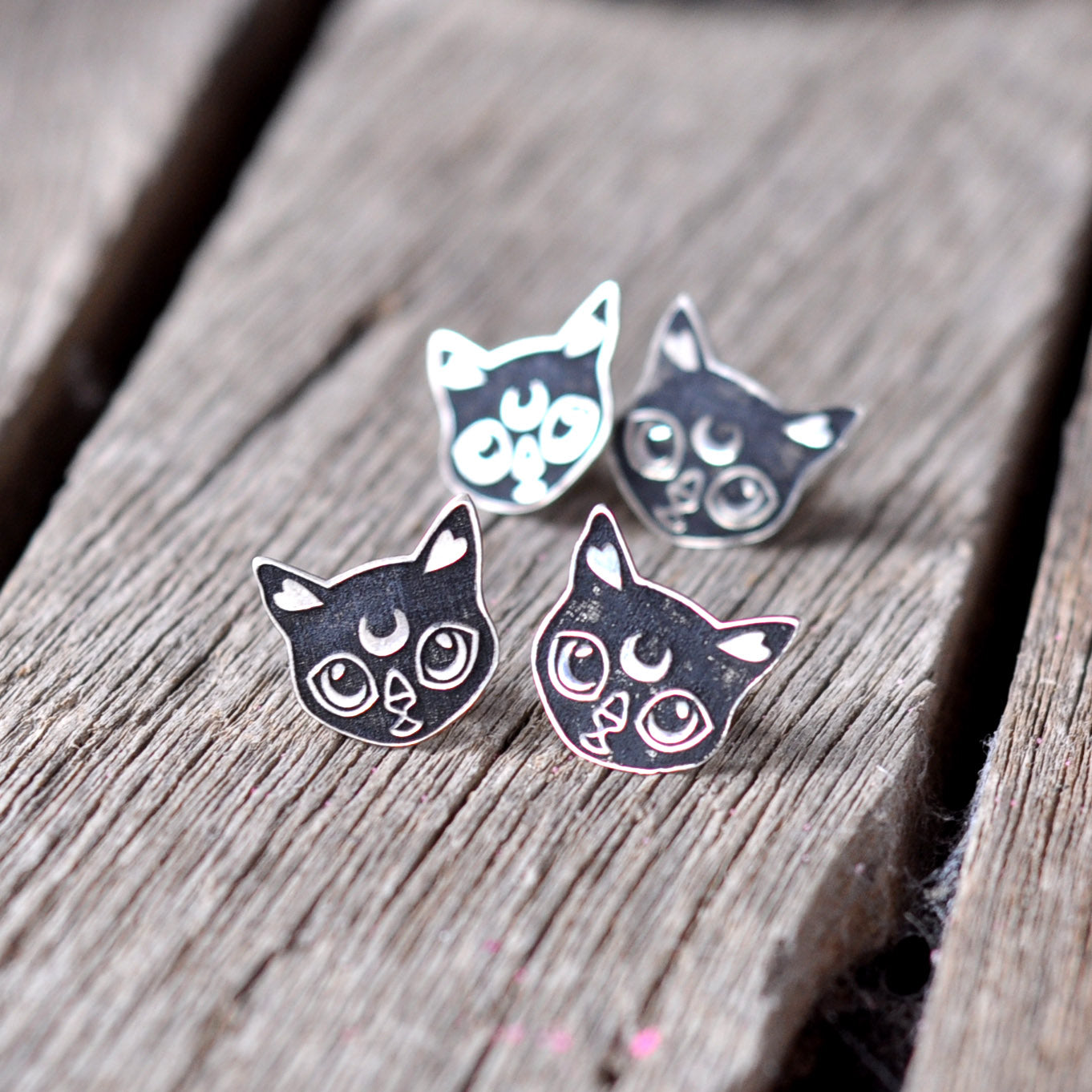 Luna Cat Earrings, Cat Stud Earrings, Sterling Silver Earrings, Lazer Curved Sterling Silver Cat Earrings