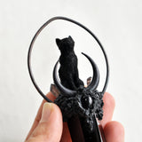 PRE-ORDER - Hand Sculpted FURRY Black Cat, Black Obsidian Crystal Tower, Handmade Moon