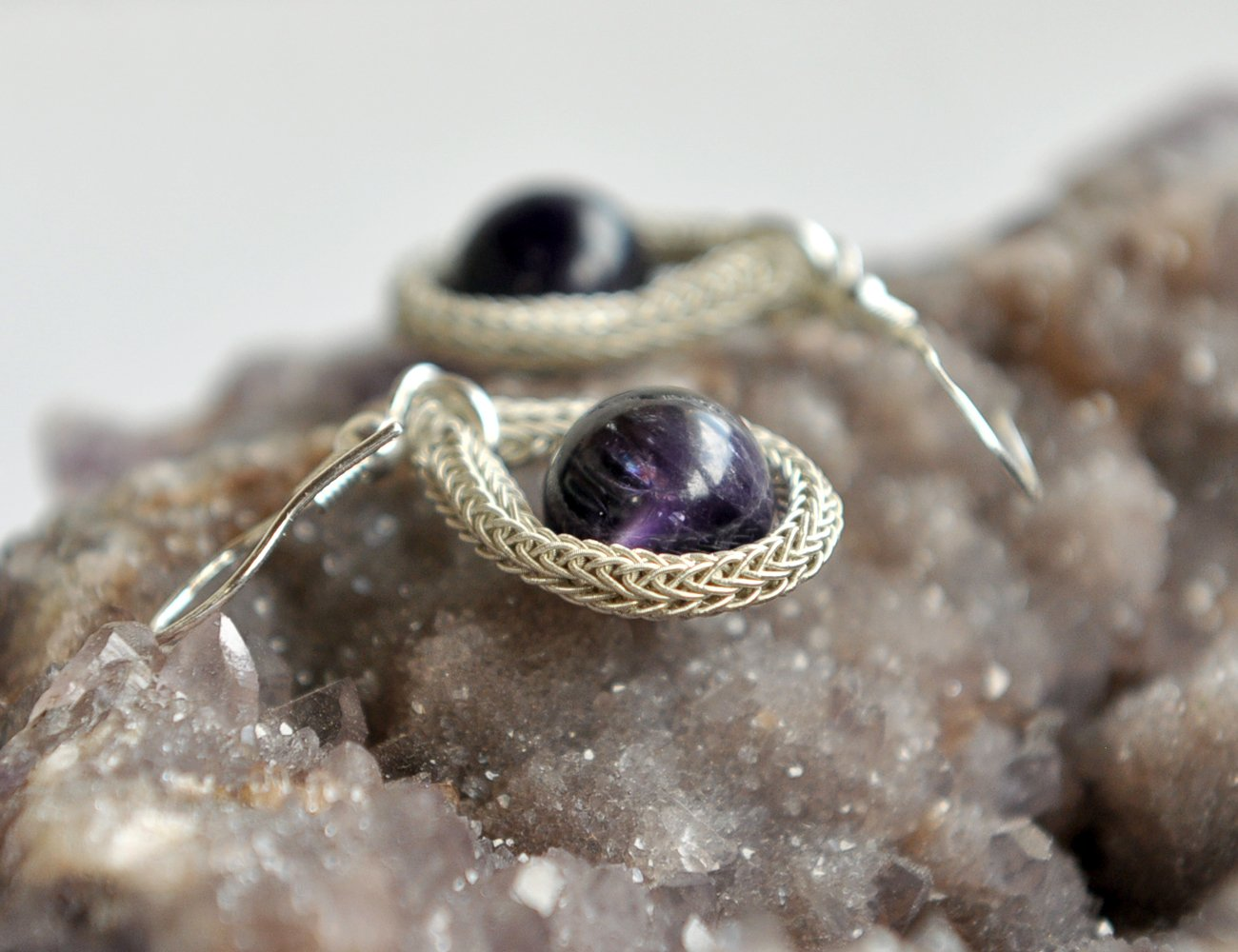 Sterling Silver Earrings, Viking Knit Chain Earrings, Amethyst Earrings, Dangle and Drop 925 Silver Earrings, Needle Art Wrapping Jewelry