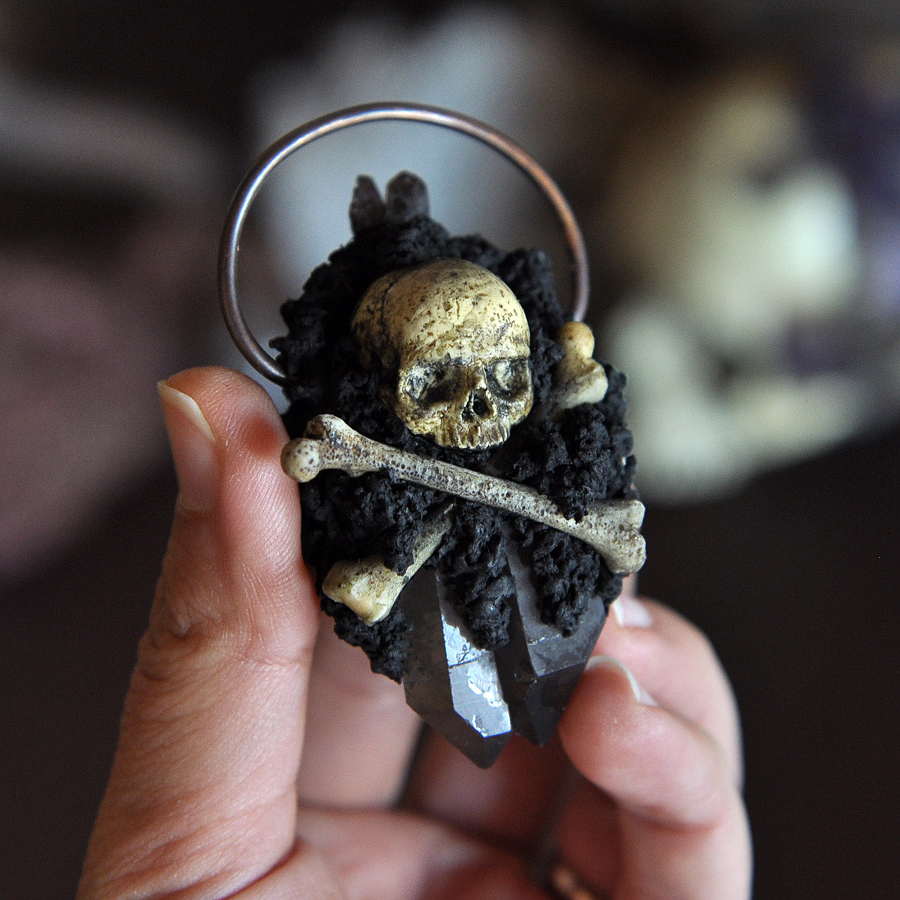 Hand Sculpted Realistic Skull and Bones Pendant, Black Amethyst, Smokey Quartz, Gothic Style
