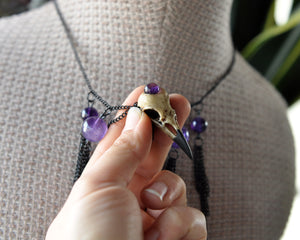 Realistic Crow Skull Necklace, Amethyst Beads Dangles Necklace, Black Copper Chains Choker, Gothic Style Pendant