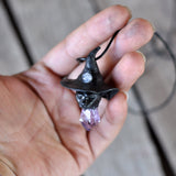 Luna Witchy Cat Pendant, Black Cat Head Necklace, Moonstone Pendant, Amethyst Pendant