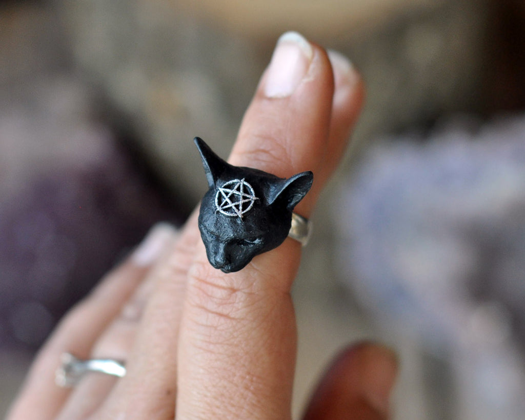 Pentagram Cat Ring, Black Cat Ring, 925 Sterling Silver Rings, Cat Jewelry, Womans Accesories