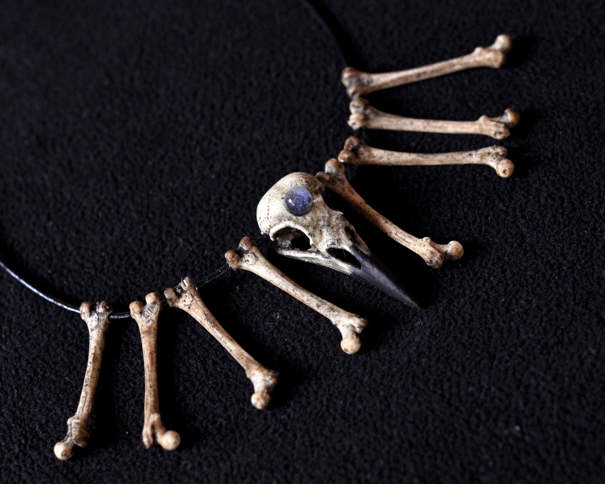Crow Skull Choker Necklace, Realistic Bones Necklace, Rainbow Moonstone Necklace, Resin Pendant, Gothic Style Necklace, Replica skull