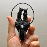 PRE-ORDER Black, Love Cats Pendant, Black Obsidian Crystal Tower, Moonstones