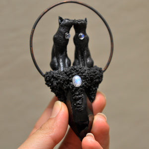 RESERVED --- PRE-ORDER LISTING FOR Black Love Cats Pendant, Black Obsidian Crystal Tower, Moonstones