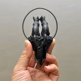 PRE-ORDER LISTING FOR Black Love Cats Pendant, Black Obsidian Crystal Tower, Moonstones