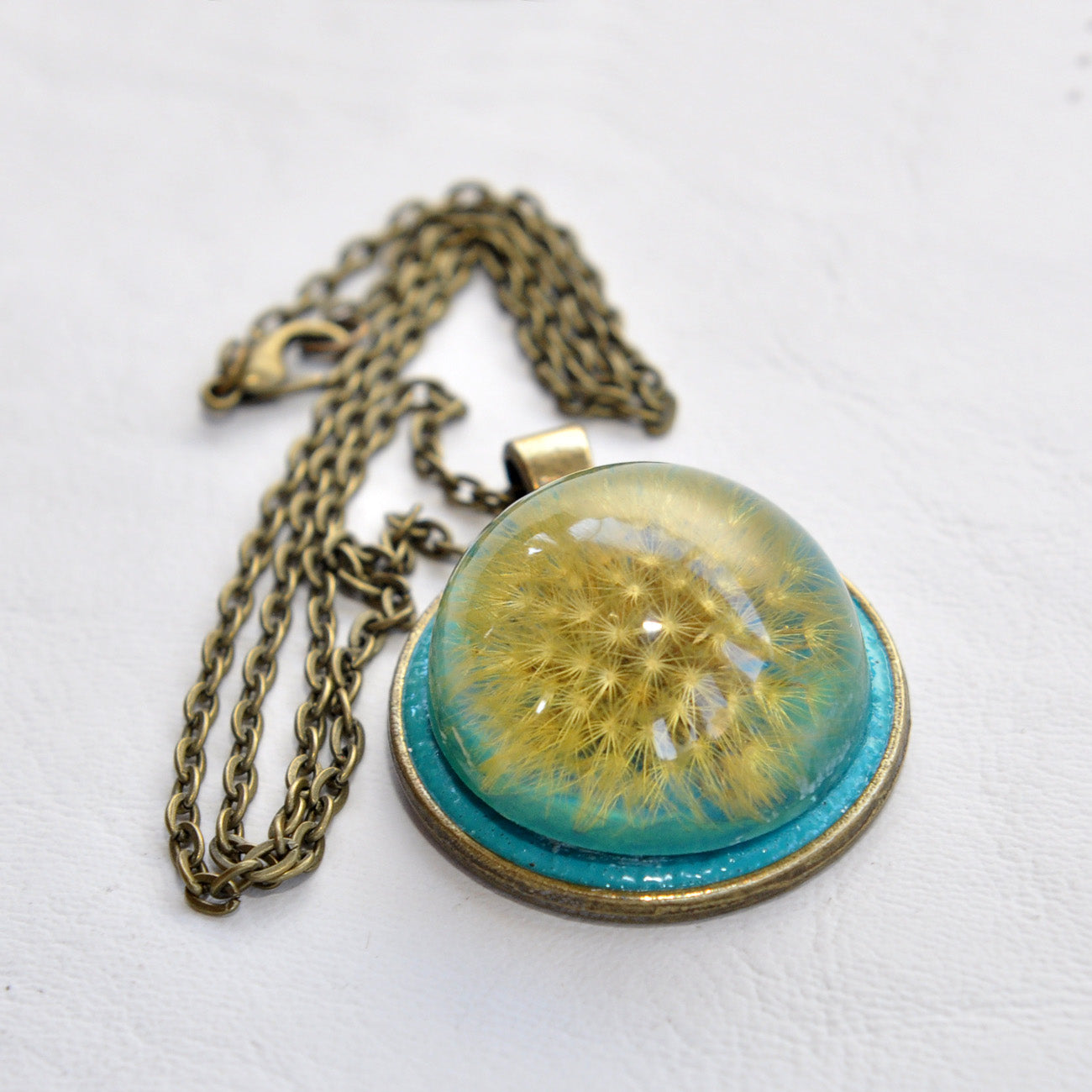 Turquoise, Cute, A Real Dandelion Resin Pendant