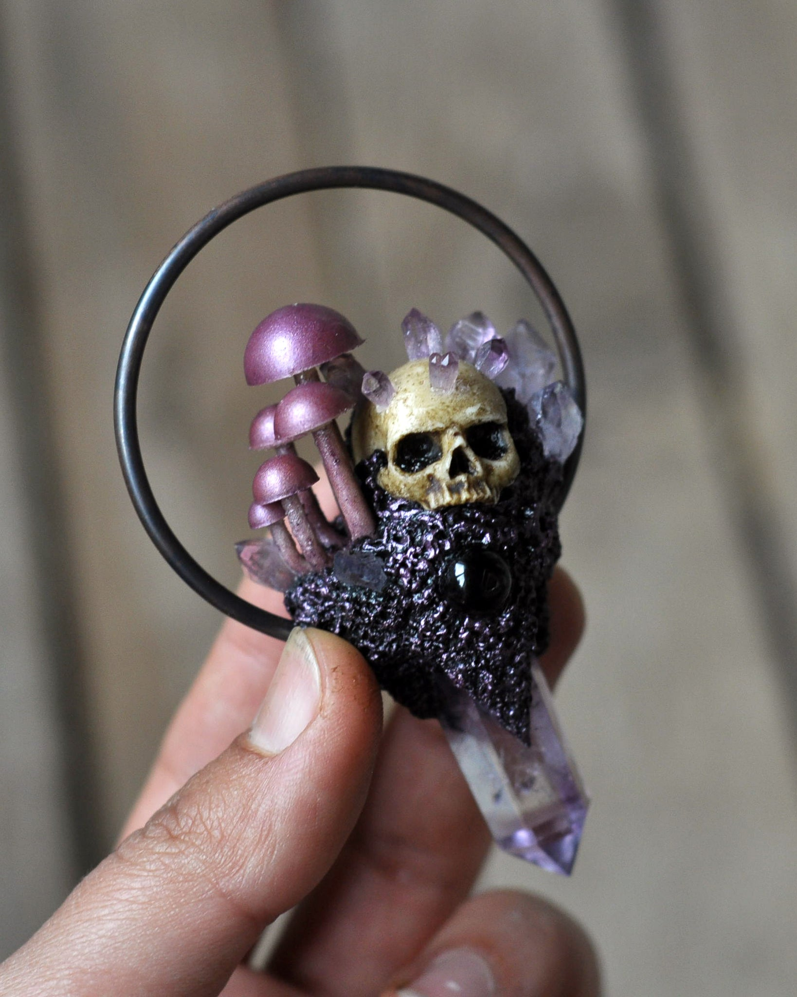 Mushrooms Family Pendant, Realistic Human Skull Pendant, Amethyst Crystal Point Jewelry, Gothic Style Pendant, Resin Jewelry