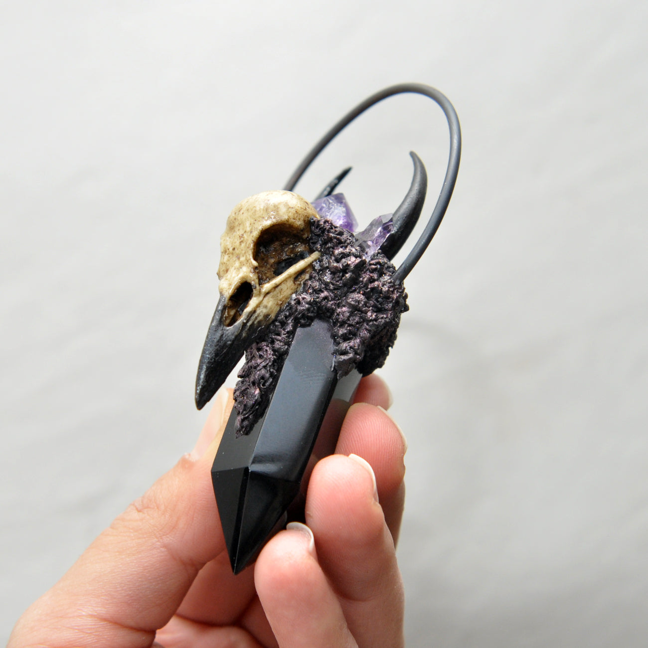 Hand Sculpted Realistic Crow Skull, Black Obsidian, Amethyst Crystals