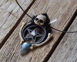 Pentagram Skull Pendant, Black Crescent Sailor Moon Pendant, Gothic Style Necklace, Resin Jewelry, Raw Fire Opal Gemstone Pendant