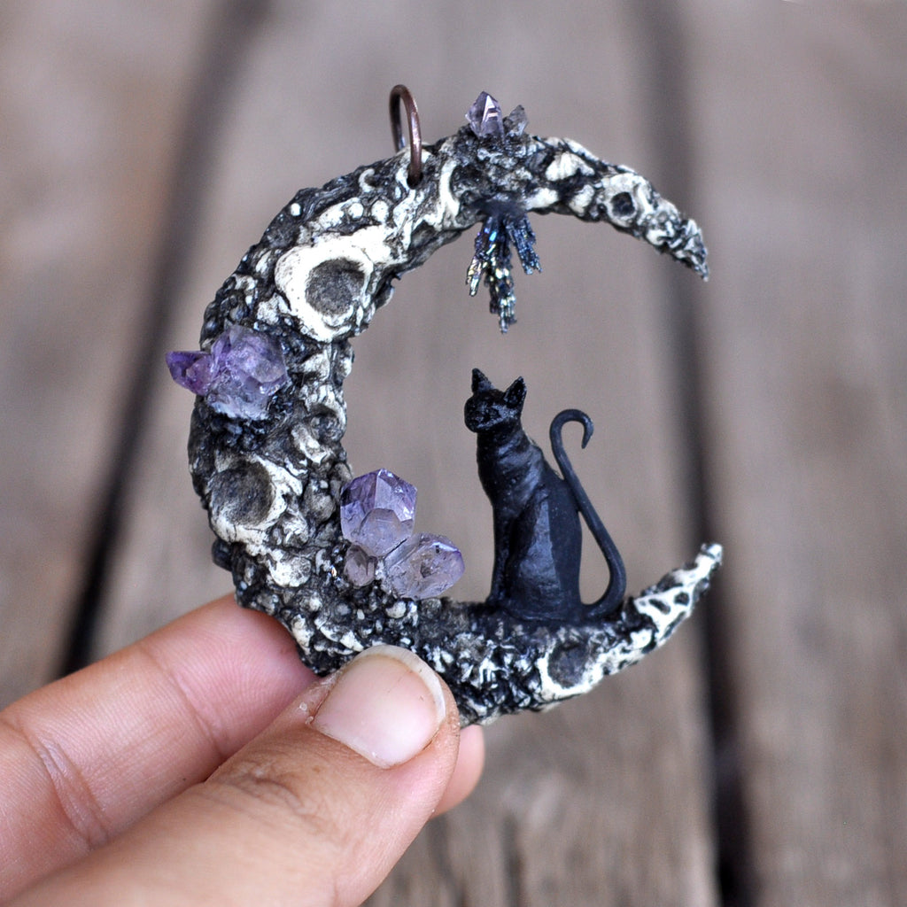 Crater Moon Pendant, Black Cat Pendant, Amethyst Crystal Pendant, Crescent Sailor Moon Necklace