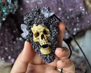 High Detailed Realistic Vampire Human Skull Necklace, Amethyst Crystal Necklace, Gothic Style Crystal Jewelry, Gothic Accessories
