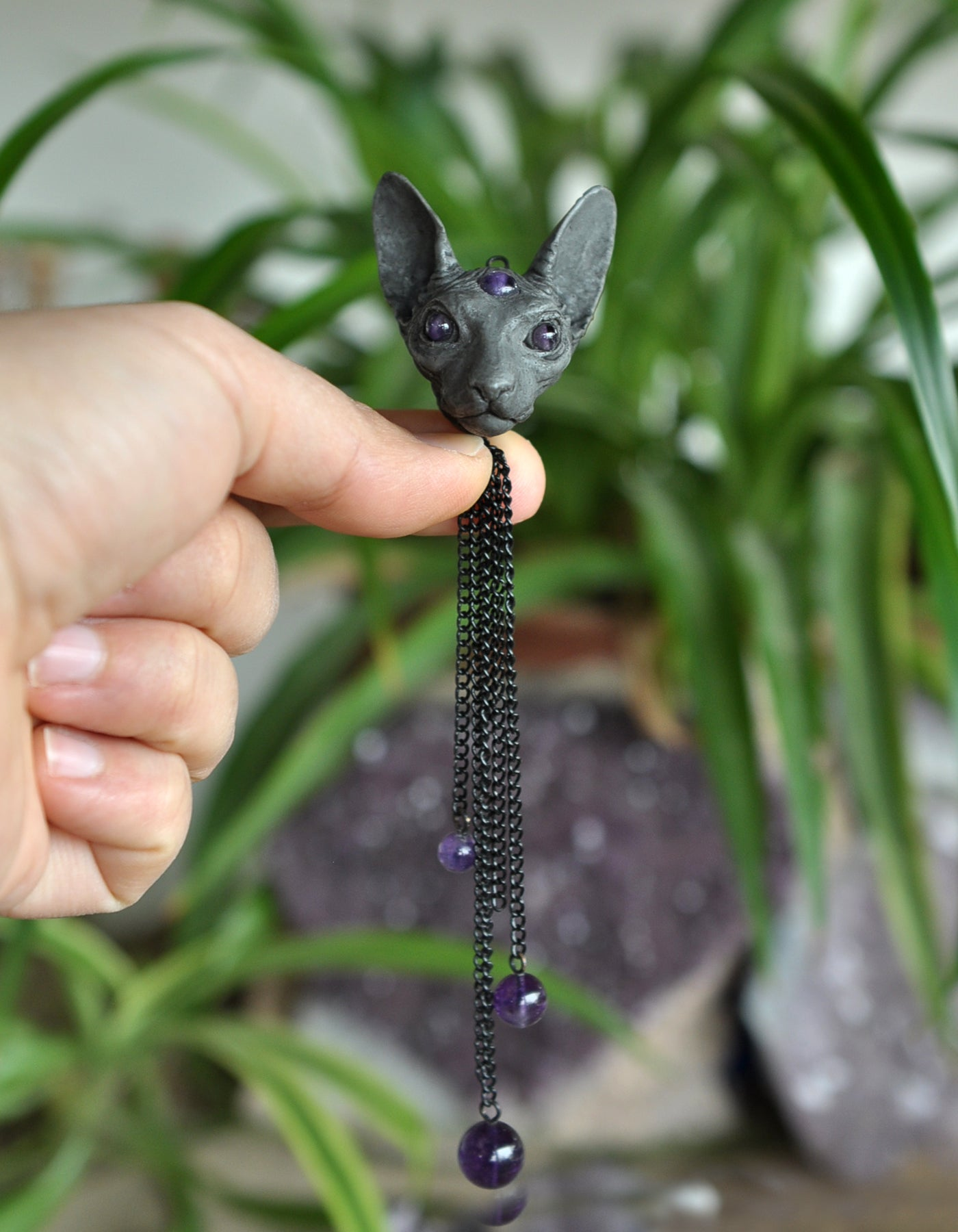 Sphynx Cat Necklace, Sphynx Cat Miniature Sculpture Pendant, Amethyst Gems Necklace, Cat Jewelry