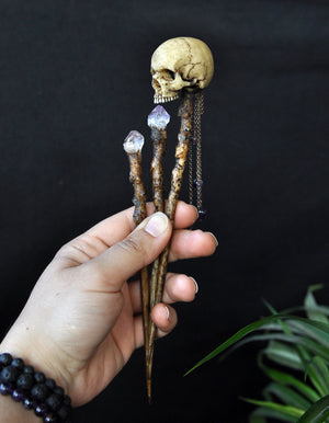 Realistic Human Skull Hair Sticks, Realistic Tree Branch Hair Wand, Amethyst Crystals Hair Accessories, Gothic Style Wedding Accessorize